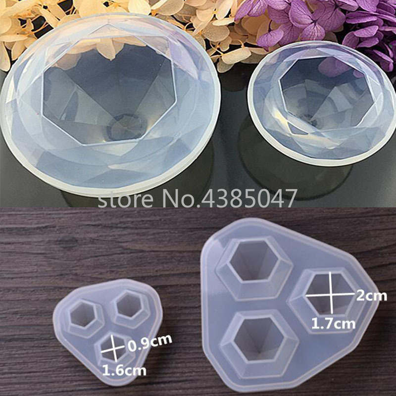 1PC Diamond Transparent Dried Flower Decorative UV Resin Mold Liquid Silicone Molds For Making Jewelry Handcraft Pendant Tools