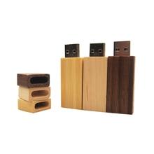 Pendrive de madera con logotipo personalizado, unidad Flash Usb de 128MB, 8GB, 16GB, 32GB y 64GB con capacidad Real para regalos de boda, 10 Uds.