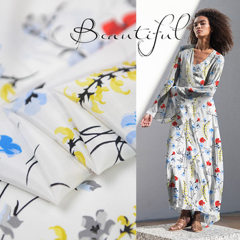 Floral on white 100% pure silk crepe de chine silk fabric 140cm width 16momme,SCDC1114