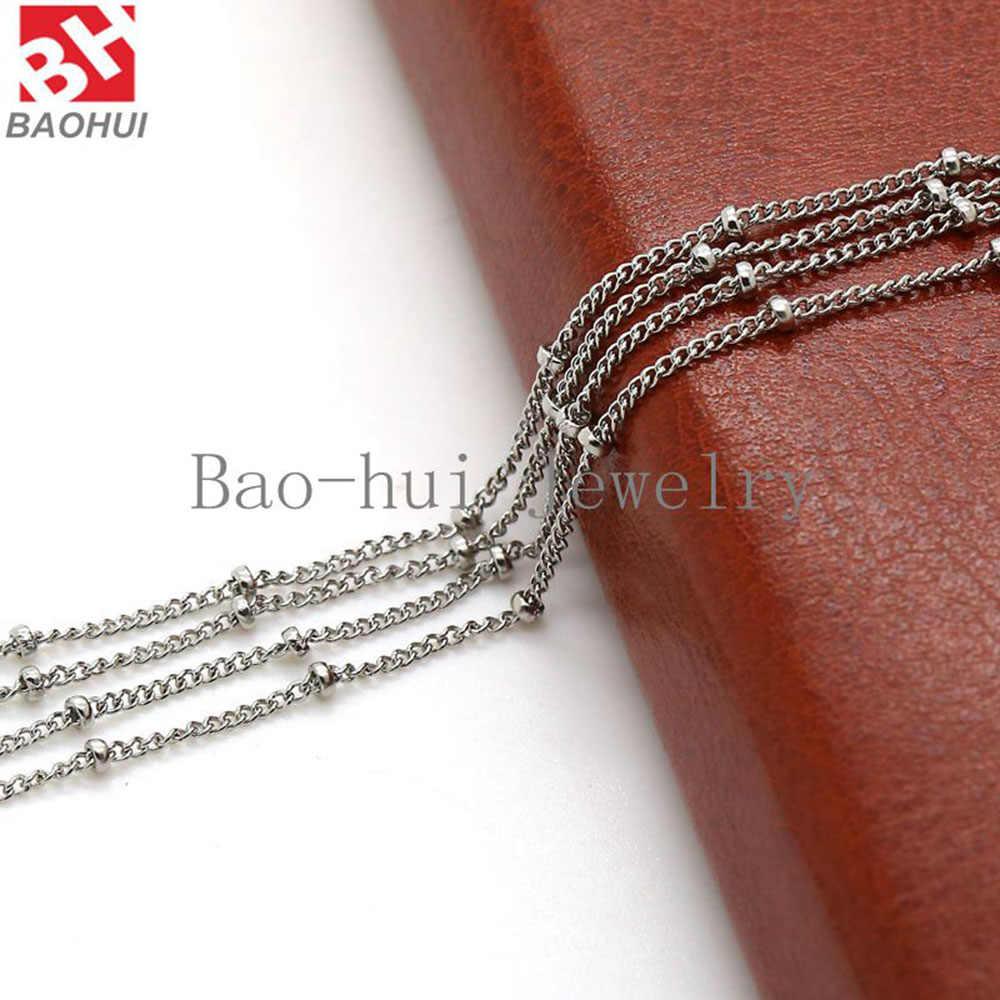 """BOFEE 316L נירוסטה שרשרת שרשרת עבור צף תליון תליון תכשיטים סיטונאי 18 """"+ 2"""" Inche (50 cm) נשים גברים"""