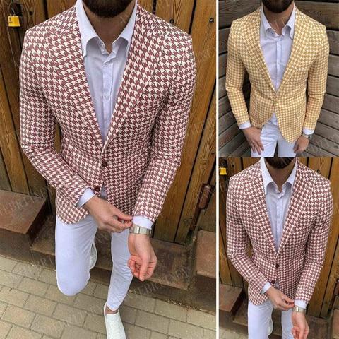 Feito sob Encomenda dos Homens Ajuste do Baile de Formatura Jaquetas para Homens Mais Novo Blazer Magro Casamento Jantar Vestido Moda Projetos Casuais Masculino Amarelo 2020