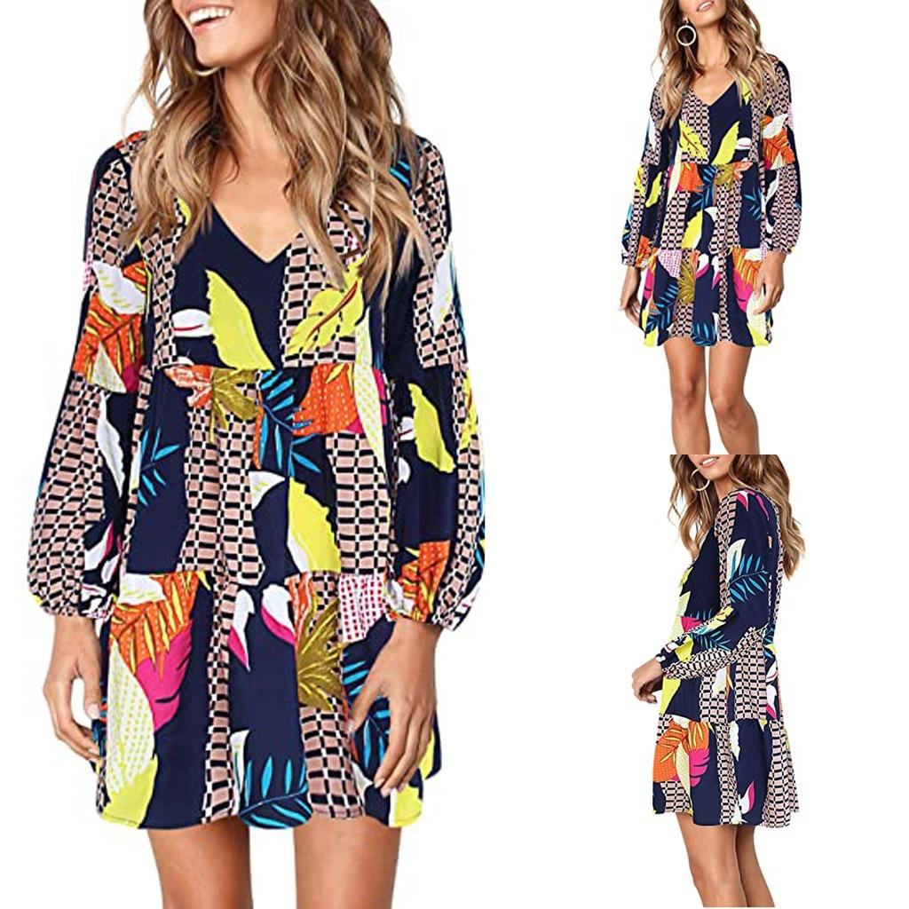 Women Summer Tunic Dress V Neck Casual Loose Flowy Swing Shift Dresses 1