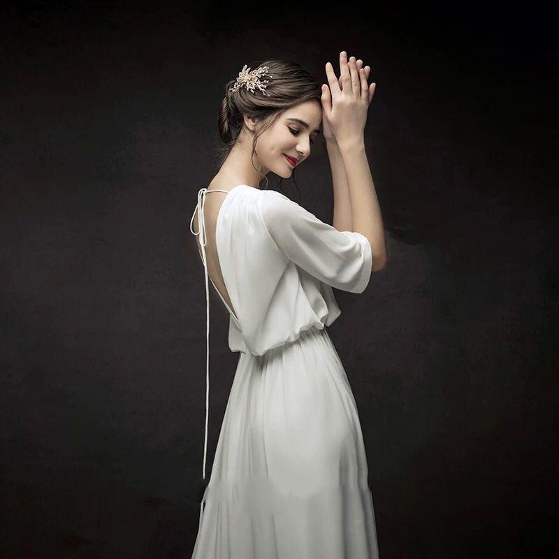 French Minimalist Wedding Dress 2019 Bride Backless Vestido De Novia Boho Wedding Dress Arabic Sexy Wedding Dress