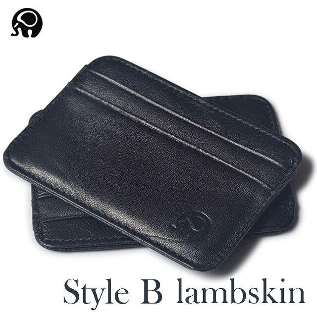 Fashion 100% Genuine Leather Thin Bank Credit Card Case Mini Card Wallet Men Bus Card Holder Cash Change Pack Business ID Pocket 6