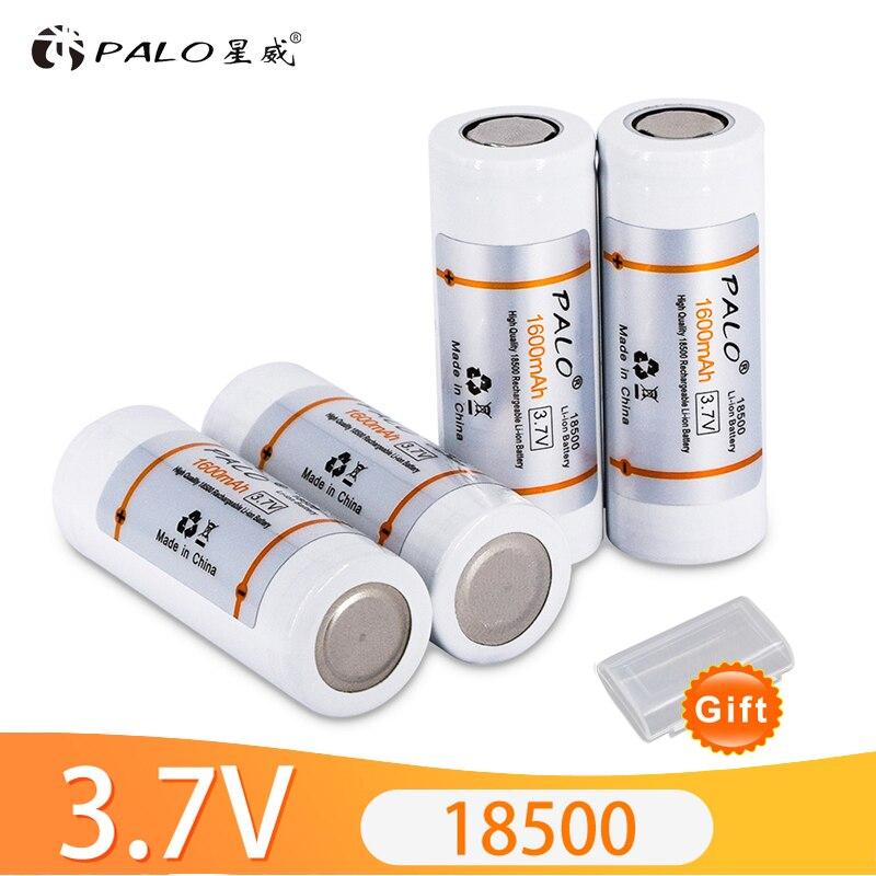Пало 3,7 в 18500 Li-Ion Перезаряжаемые Батарея 18500 1600mAh 3,7 V литиевая батарея 18500 литий-ионных батарей для светодиодный фонарик