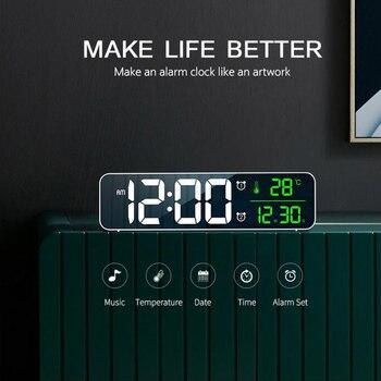 Regalos de decoración del hogar multifuncional Reloj de escritorio LED música calendario Digital espejo Despertador con pantalla de temperatura