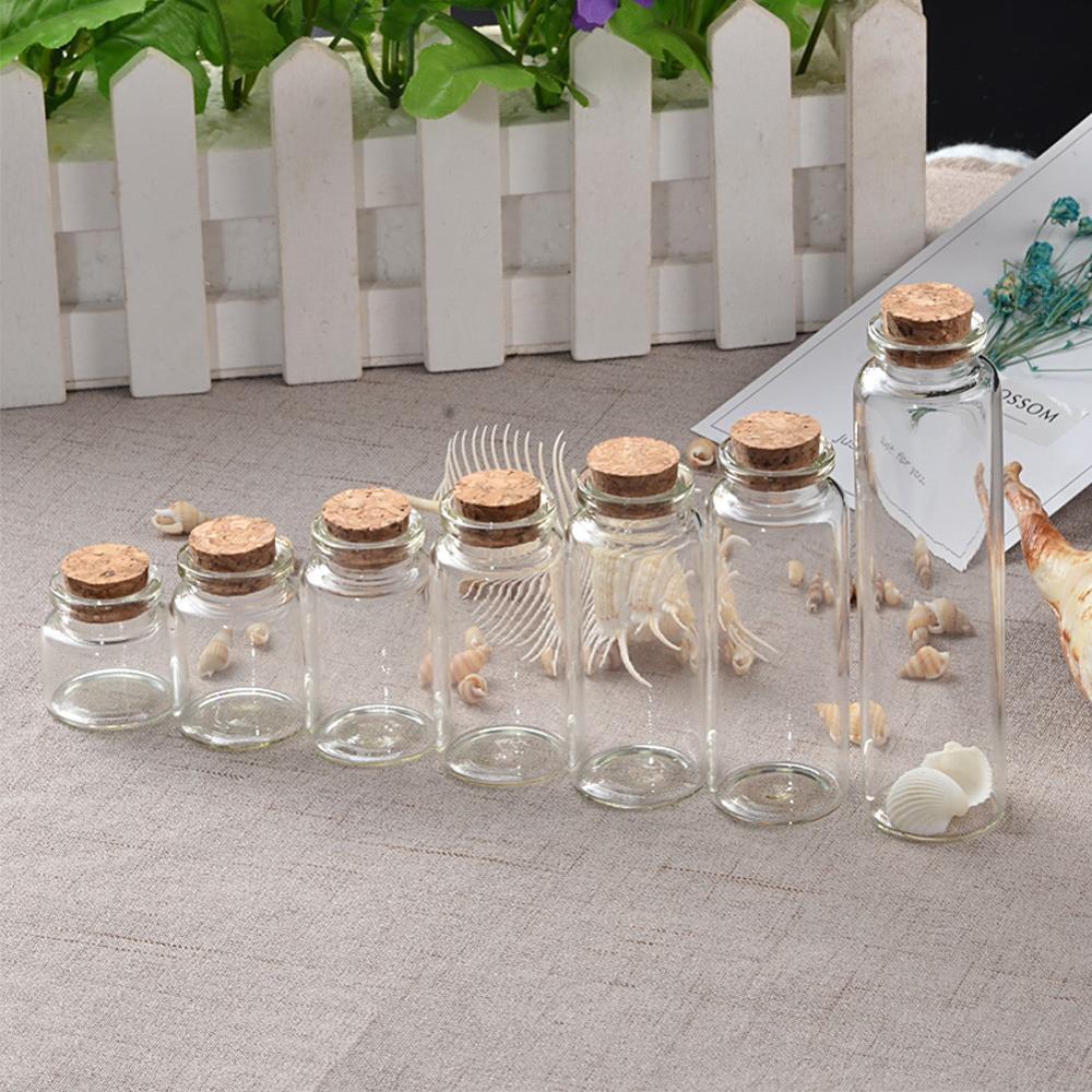 50 adet 10ml 15ml 20ml 25ml 30ml 40ml cam mantarlı şişeler boş şişeler kavanoz konteynerler şişe el sanatları şişeler kavanozlar ücretsiz kargo