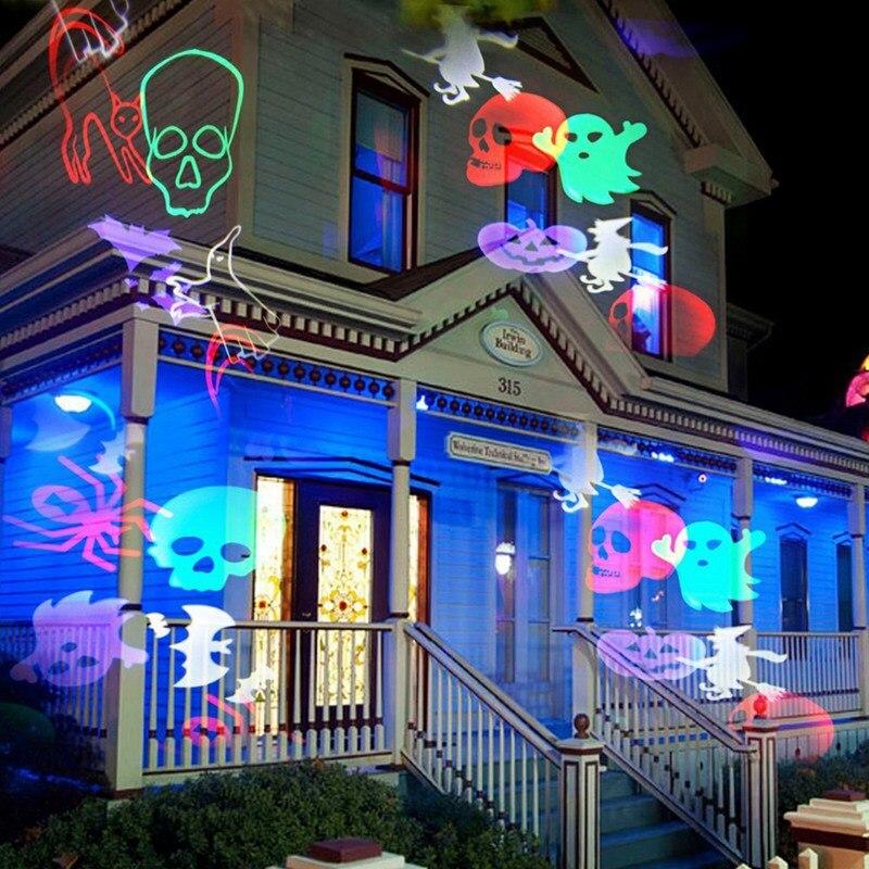 Проекционная лампа для сцены на Хэллоуин, рождественские прожекторы, проектор в стране чудес, снежинка, вечерние светильники