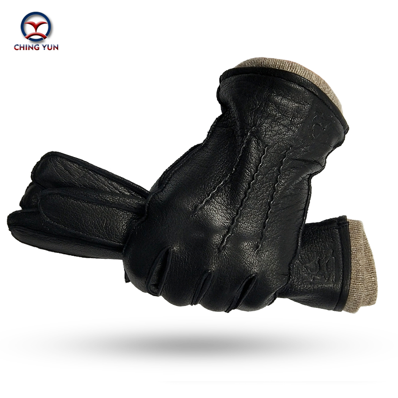 CHING YUN Winter Men's Deerskin Gloves Buckskin Men's Warm And Soft External Suture Men's Black Gloves 70% Wool Lining