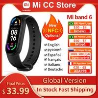 Versione globale Xiaomi Mi Band 6 schermo AMOLED ossigeno nel sangue Fitness Traker frequenza cardiaca 5ATM braccialetto impermeabile Smart Band 5 colori