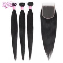 Queen Love Hair Brazilian Straight Hair 3 Bundles With 4*4 L