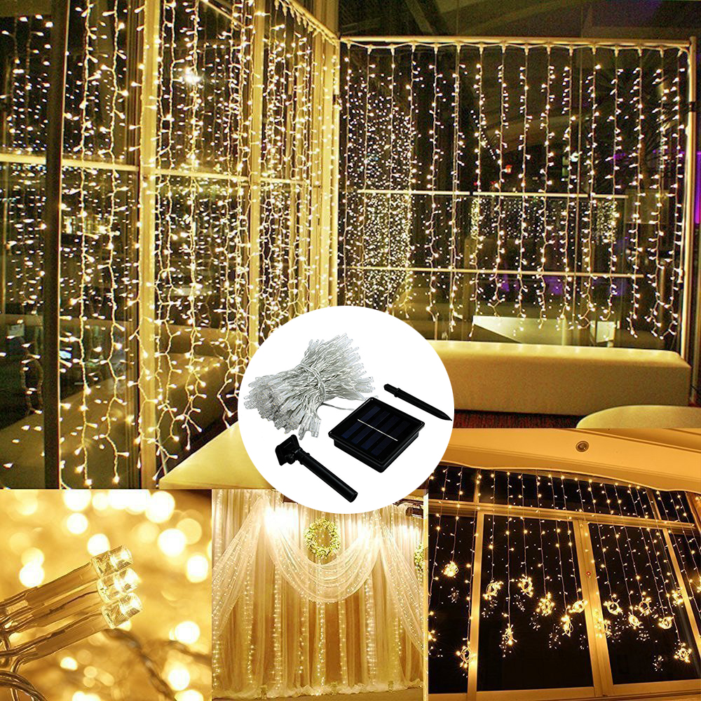 3x2/3x3m LED Solar Window Curtain String Light Outdoor Garden Curtain Light Lamp Christmas Wedding Holidays Party String Lights