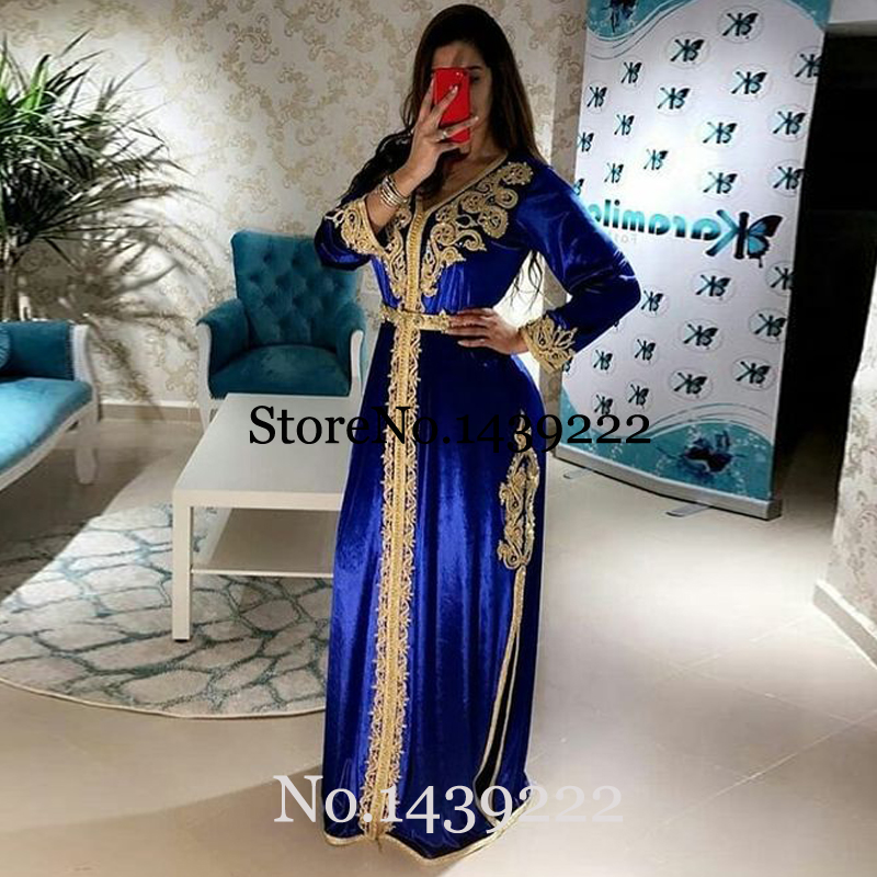 Royal Blue Moroccan Kaftan Evening Dresses Long Lace Appliques Mother Dress Arabic Muslim Special Occasion Formal Custom Made