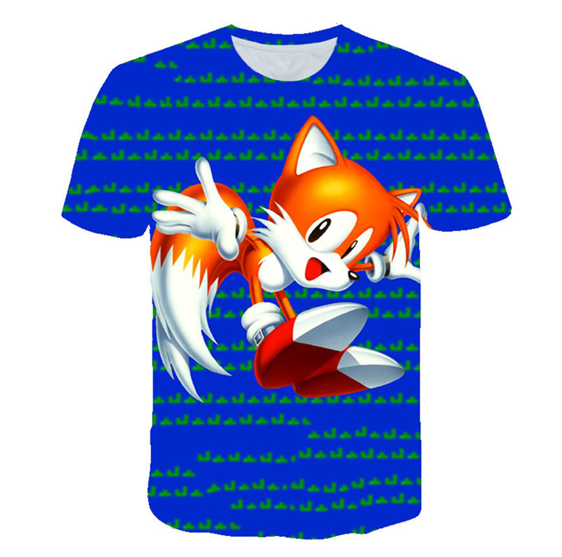 Fashion Kids Clothes Summer Short Sleeve 3D Cartoon Printed Sonic T Shirt For Boys Streetwear Teenager Boys Children Tops Tee