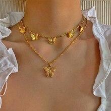 ¡Novedad de 2020! collar con colgante de mariposa IF YOU de moda para mujer, collar con gargantilla de Color dorado Vintag para mujer, joyería Bohemia llamativa