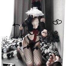 Seksi kedi Catwoman erotik cadılar bayramı kostümleri yetişkin kadınlar için noel Maid kostüm Cosplay tavşan kız üniforma günaha