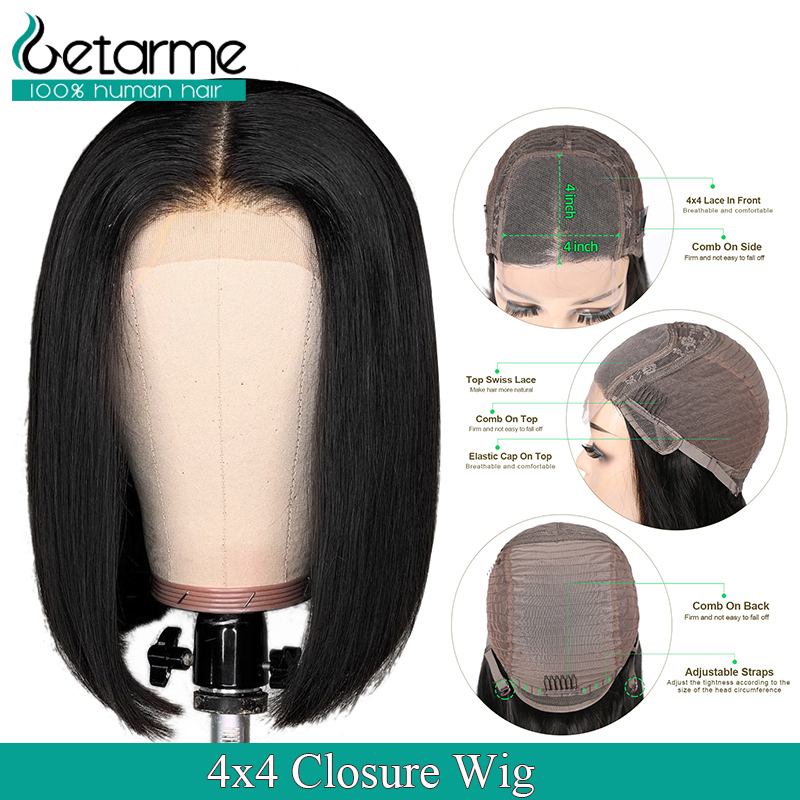 Brazilian Wig 4X4 Straight Lace Closure Wig Glueless Lace Closure Short Human Hair Wigs For Black Women Non Remy 4x4 Closure Wig