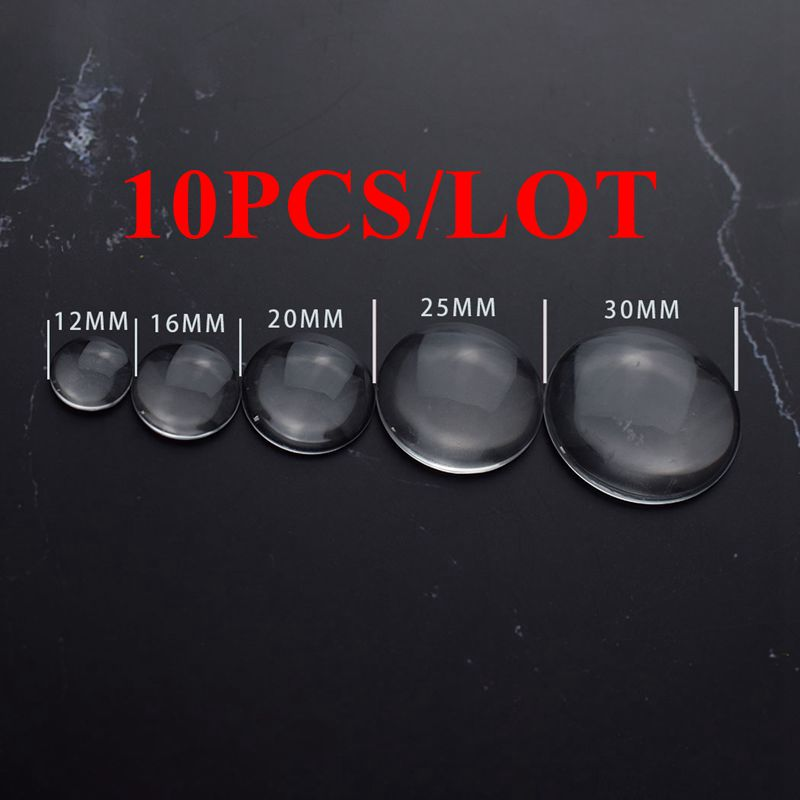 10PCS/LOT DIY Transparent Round Cabochon Glass Flat Back Handcraft Jewelry Accessories Making