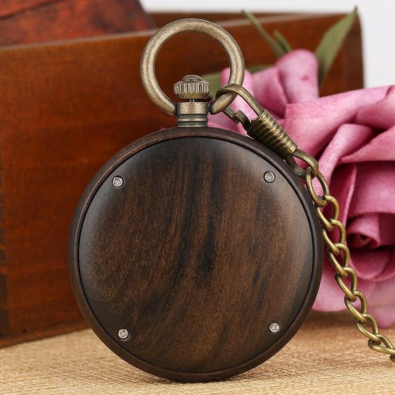 Relógio de Madeira do Vintage Relógio de Bolso de Quartzo Cadeia de Madeira de Nogueira Presentes de Natal para Mulheres dos Homens Ébano Aberto Rosto Leve Relógio Fob