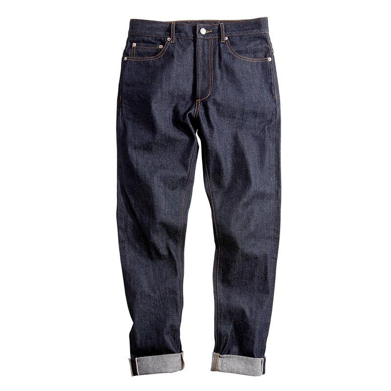 2020 New Big & Tall Regular Fit Straight Leg Raw Selvedge Denim Jeans Men Dark Blue