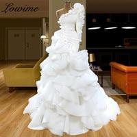2020 White Muslim One Shoulder Evening Dress Mermaid Tiered Robe De Soiree Turkish Couture Dubai Abendkleider Kaftan Prom Gowns
