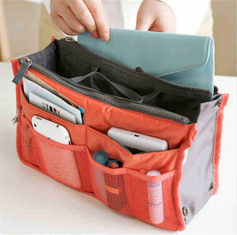 7 Colours Organizer Insert Liner Travel Bag Organizer Large Purse Ladies Cosmetic Women Cosmetic Bags  Ladies Travelling Bags