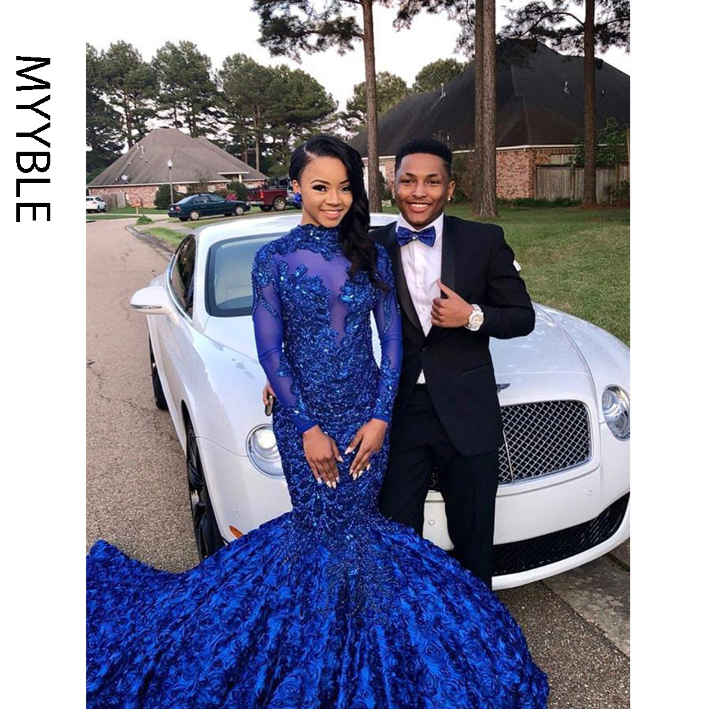 Real Photo New Royal Blue Mermaid Prom Dresses 2019 High Neck Long Sleeve Appliques Winter Formal Dress Evening Party Gowns