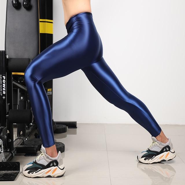 Men's shiny satin high stretch trousers. Step pants, nine-point pants, three kinds of leggings, sports pants, fitness leggings 2