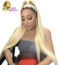 Facebeauty 1B 613 yarım peruk 150 yoğunluk ön koparıp perulu Remy Ombre sarışın dantel ön düz insan saçı peruk bebek saç ile