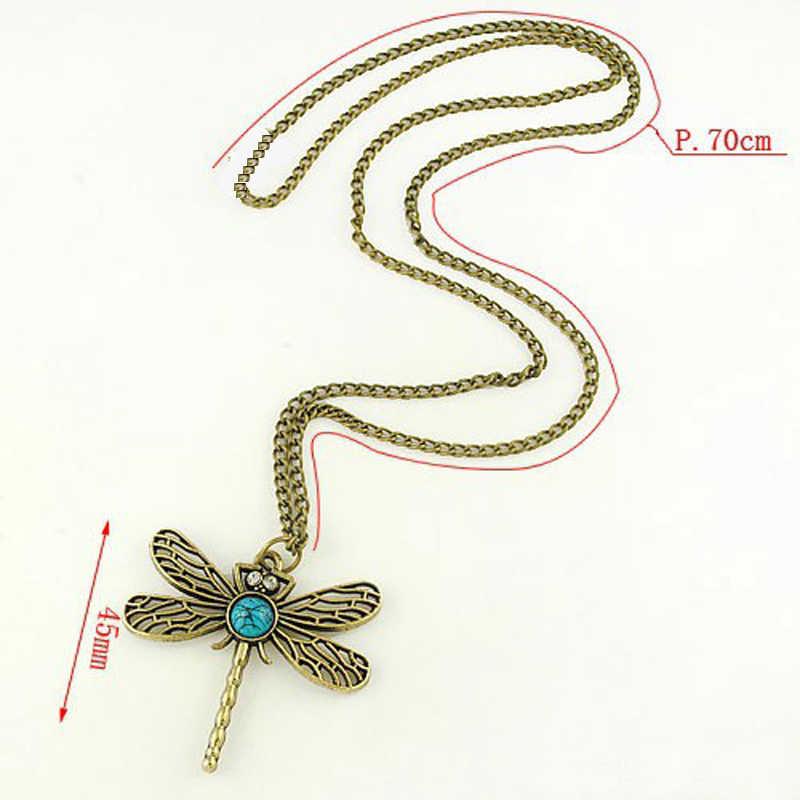 Nouveau collier libellule Vintage pour femmes rétro creux coréen Long paragraphe chandail animaux chaîne pendentif collier
