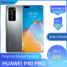 Global Huawei P40 Pro 5G Ponsel 6.58 Inci OLED Screen 8GB + 256 GB Ponsel 50MP + 32MP 4200MAh Kirin 990 Android 10(China)