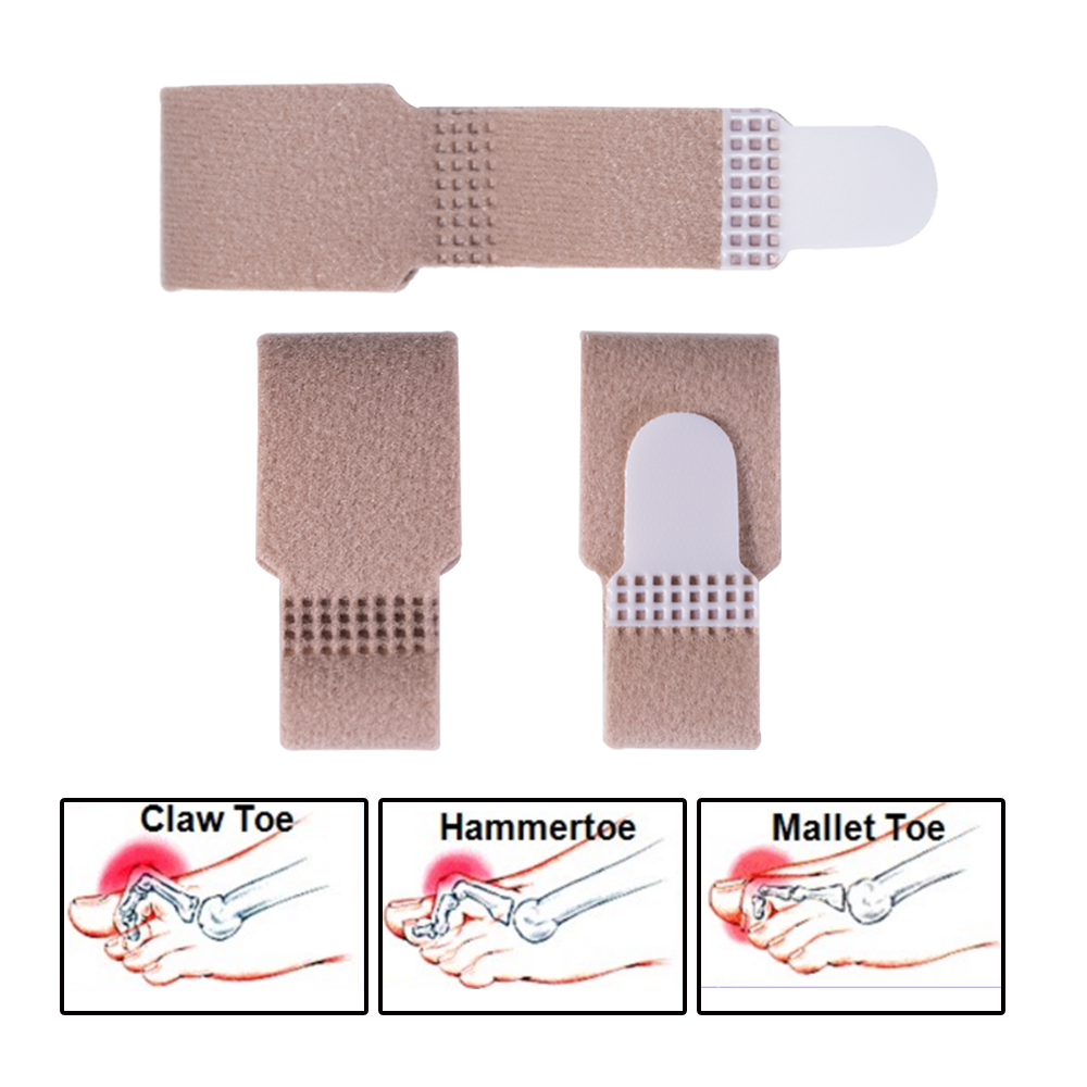 Sumifun 4pcs Toe Separator Velvet Cotton Toe Splint Straightener Wrap Anti-Slip Brace Hammer Broken Toe D1174