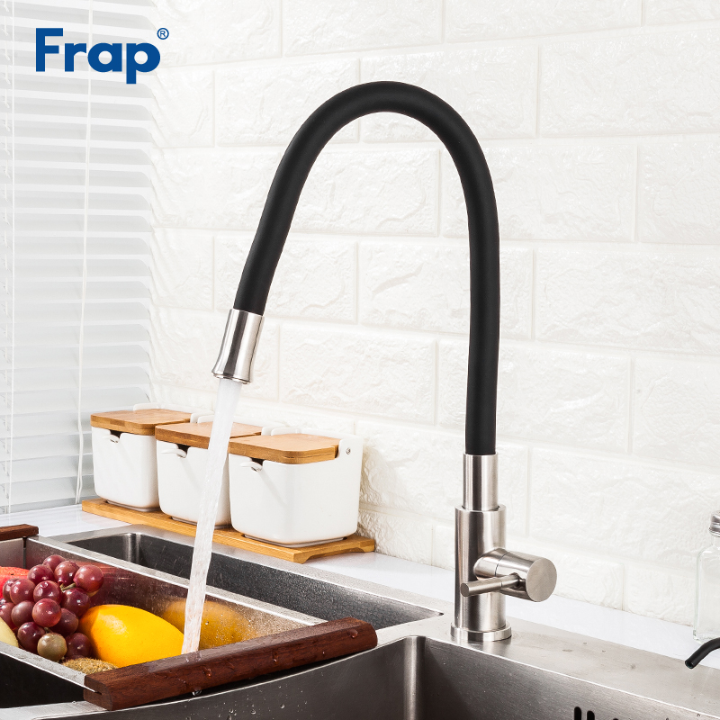 Frap New Arrival Silica Gel Nose Black Kitchen Sink Faucet Single Cold Water Mixer Faucet For Kitchen Tap Torneira Cozinha