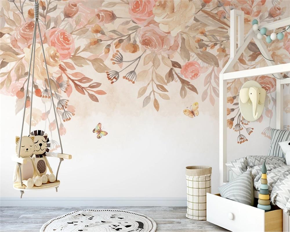 Beibehang Custom Modern Nordic Hand Painted Pastoral Style Romantic Rose Flower American Background Papel De Parede Wallpaper