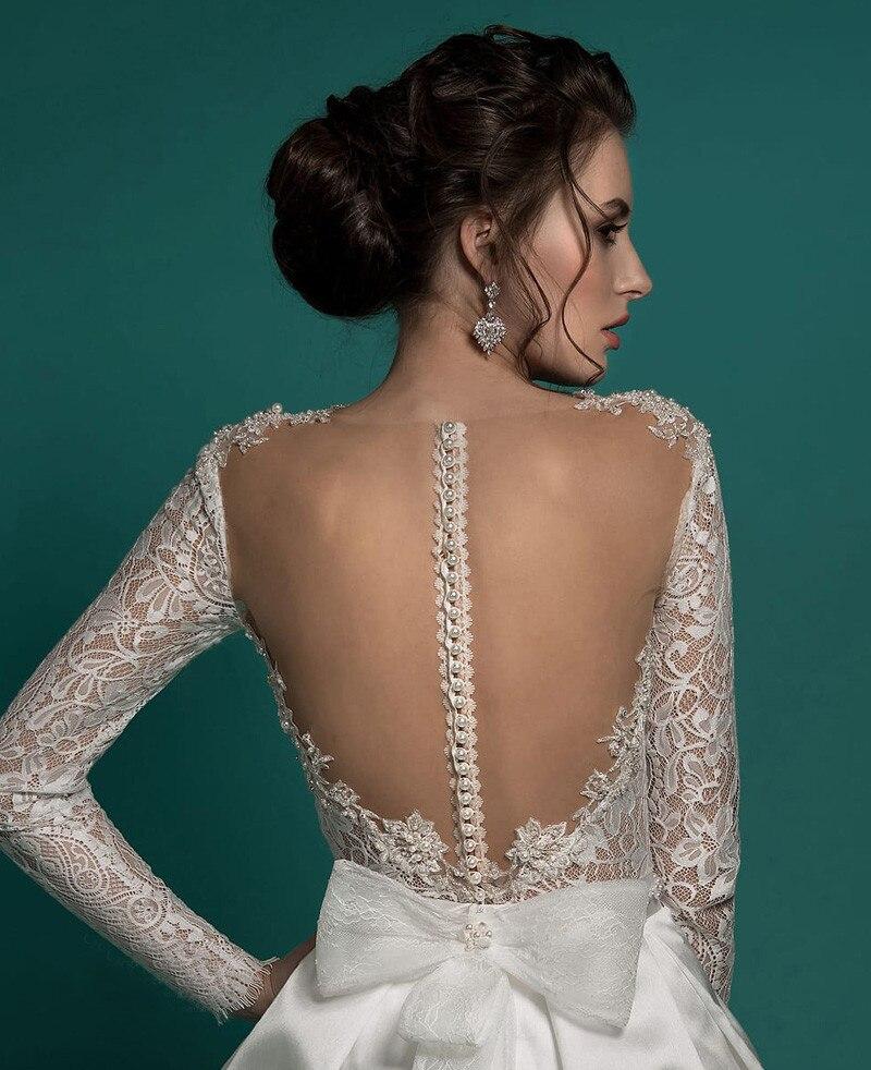 Vestido de noiva Lace Wedding Dress 2019 Short Champagne Tulle Pearls Bride Dresses Knee Length Illusion Back Wedding Gowns in Wedding Dresses from Weddings Events