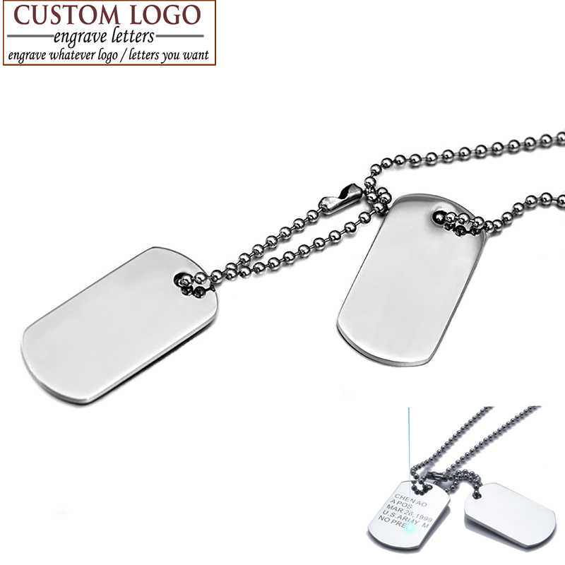 AZIZ BEKKAOUI Men Jewelry Custom Dog Tag Pendant Necklaces Stainless Steel Pendants Military Army ID Tag Necklace Free Engrave
