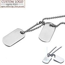 Ziz bekkaoui personalizado cão tag pingente colares de aço inoxidável do exército militar id tag colar livre gravar