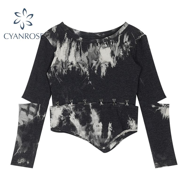 Streetwear Langarm Split Crop T Shirt Und Tops Frauen O Neck Pullover Tie Dye Tees Saum Unregelmäßigen Retro Patchwork tops Mujer