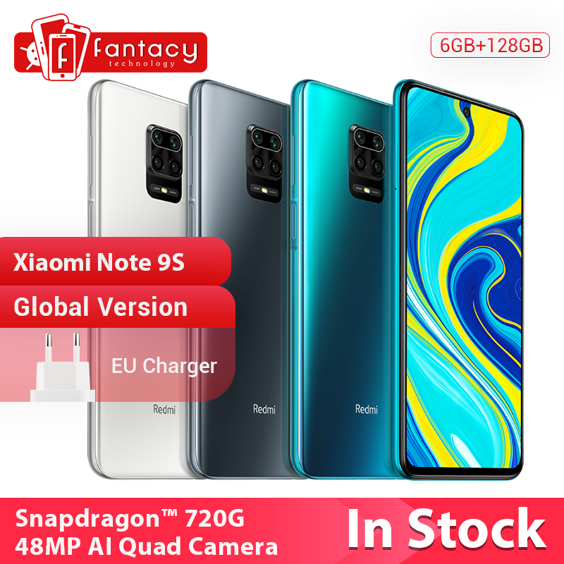 "In Stock Global Version Xiaomi Redmi Note 9S 6GB 128GB Snapdragon 720G 48MP AI Quad Camera Note 9 S 5020mAh 6.67"" FHD+ Screen Cellphones  - AliExpress"