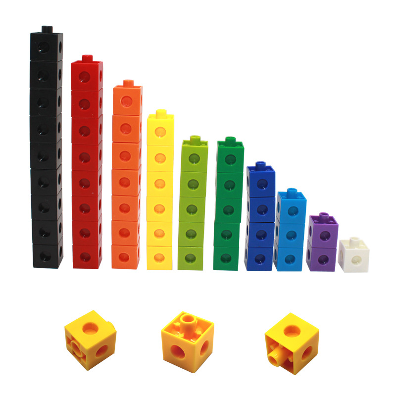 100Pcs 10 Colors Multilink Linking Counting Cubes Snap Blocks Teaching Math Manipulative Kids Early Education Toy