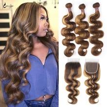 Парик Uwigs с свободными волнами, натуральная линия волос, средний коричневый, парики из человеческих волос на сетке 4x4, парики бразильские без...