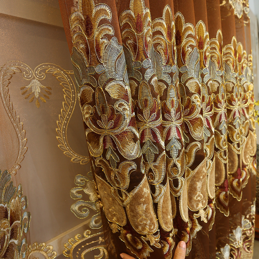 European Royal Luxury Gold Curtains Enbroidered Curtains for Living Dining Room Bedroom Sheer/Voile Curtains for Home Decoration
