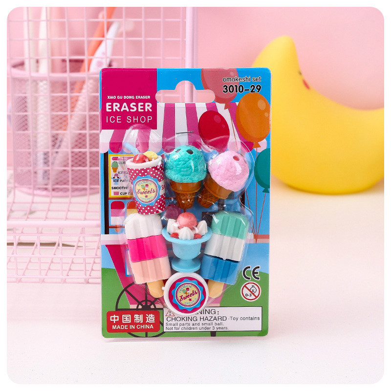 7Pcs/Lot Ice Cream Pencil Erasers For Office School Creative Stationery Supplies Kawaii Kids Prize Writing Drawing Student Gift