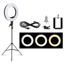 18 polegada conduziu a luz do anel da foto com suporte de luz 5500k iluminação fotográfica digital da lâmpada de luz de vídeo