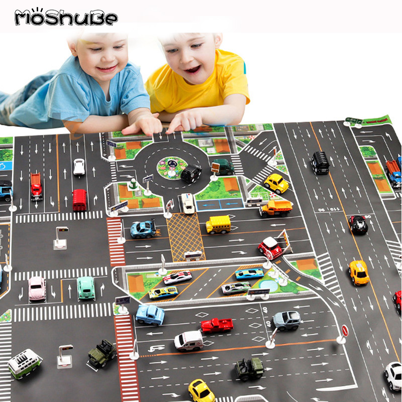 Teaching Baby Play Mat Waterproof Foldable Climb Route Map City Town Crawling Pad Kids Rug Parking Lot Children Road Toy Carpet