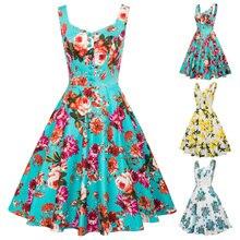 Belle Poque Women Dresses Summer Sleeveless V-Neck Flared A-