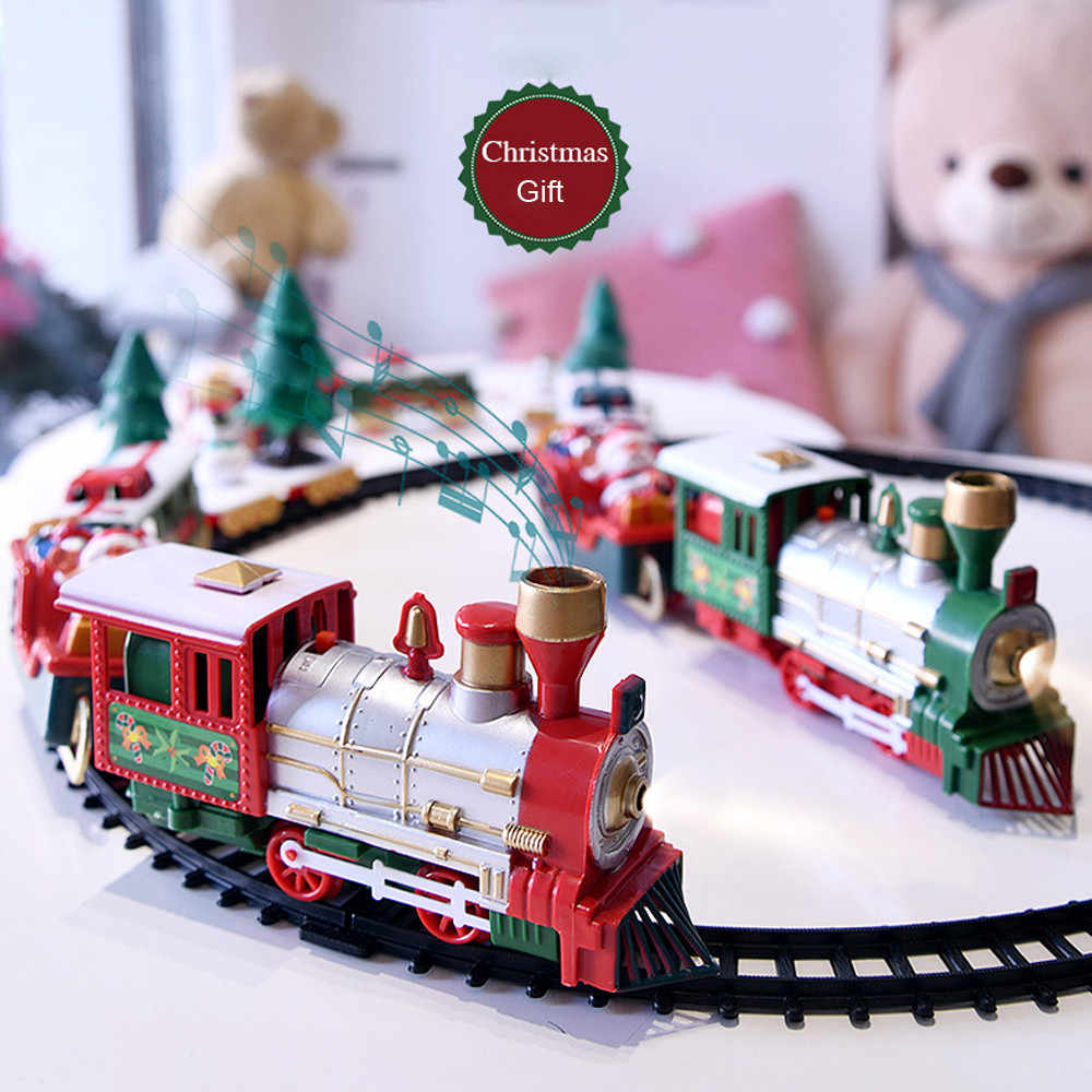 Lights And Sounds Christmas Train Set Railway Tracks Toys Xmas Train Gift Electric Railway Train Set w/ Locomotive Engine Cars