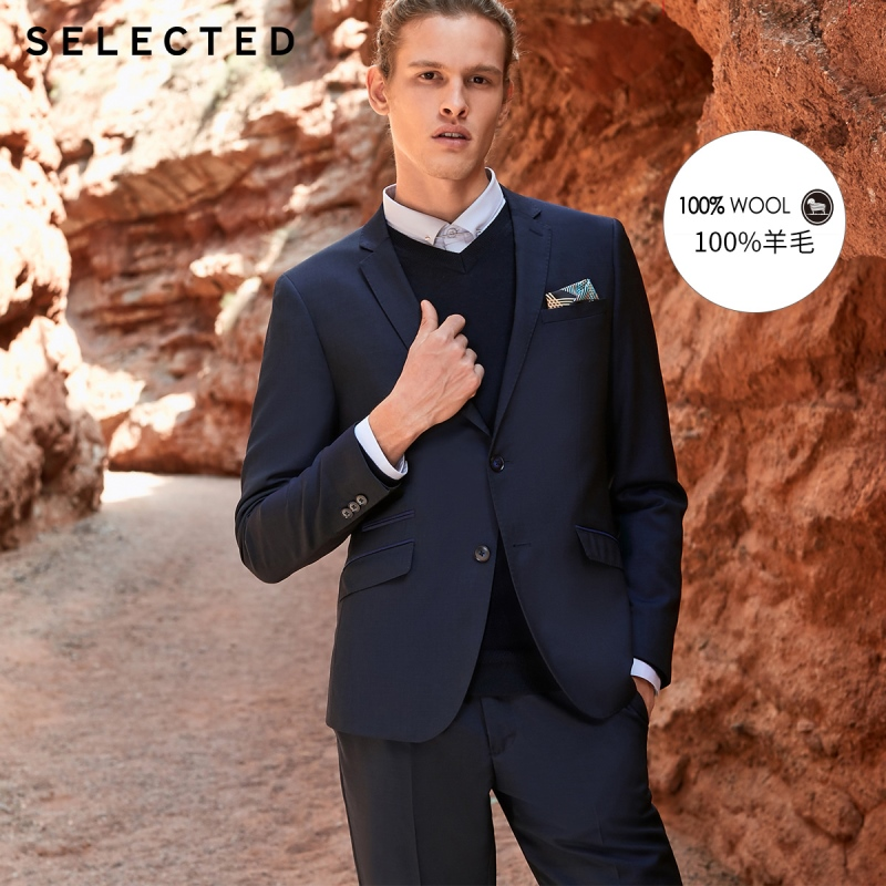 SELECTED Men's 100% Wool Business Blazer Notched Collar Woolen Slim-Fit Jacket Clothes T | 41915Z501