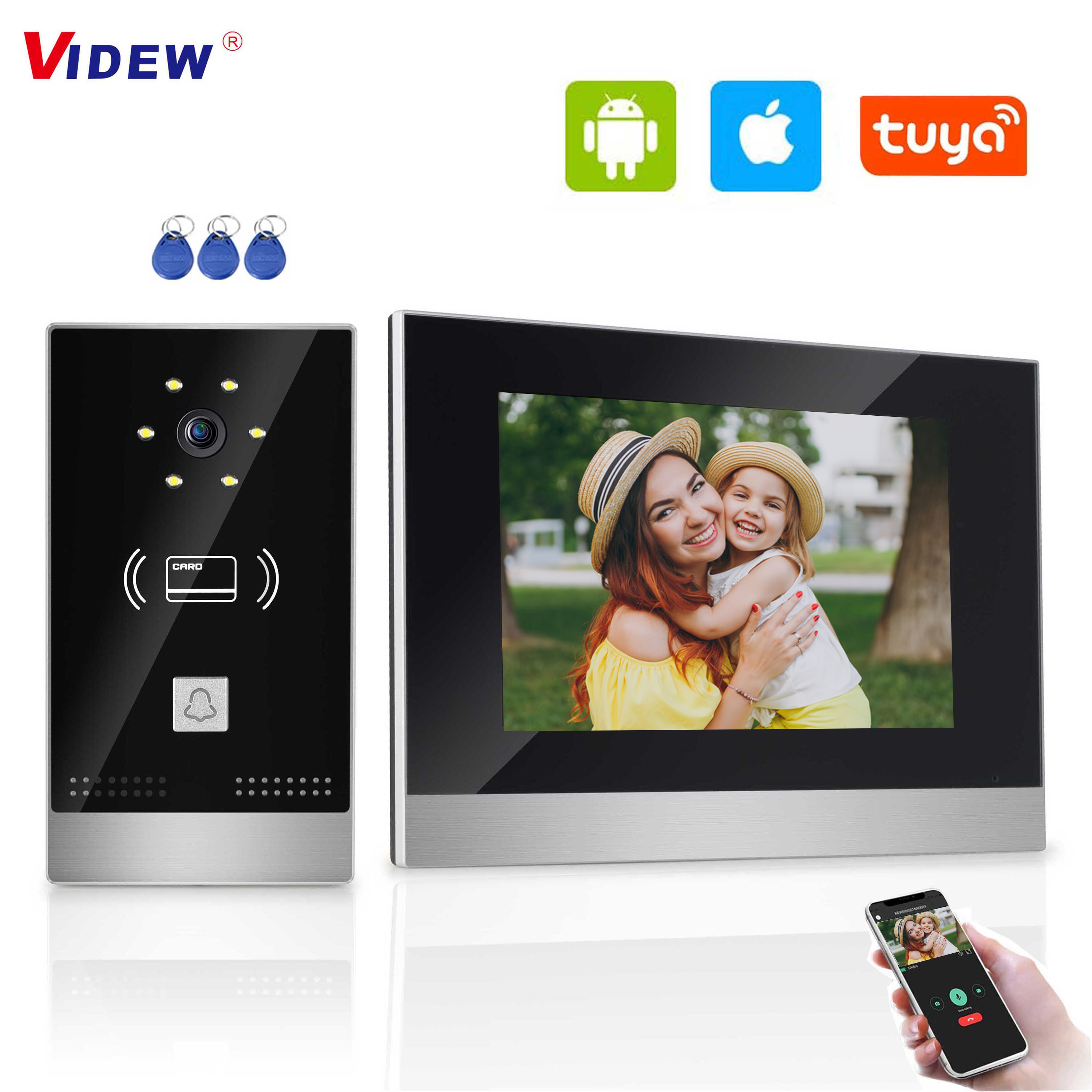 Video Camera Doorbell Door Phone Intercom System with 7 Inch HD Monitor Tuya Smart Night Vision Door Entry System RFID for Villa