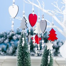 цена 3Pcs/Set Eco-friendly Lightweight Christmas Wooden Bell Star Pendant Christmas Tree Pendant Ornament Christmas Decoration в интернет-магазинах